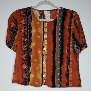 Vintage Bobbie Brooks Blouse Tie Back Button Up S